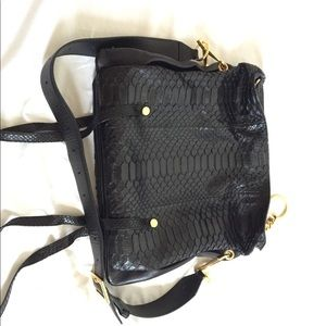 Mardy Black Python and Napa Leather Shoulder Bag